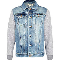 Boys denim jacket with jersey sleeves