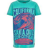 Boys green vintage surf print t-shirt