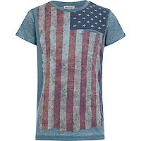 Boys blue American flag burnout t-shirt