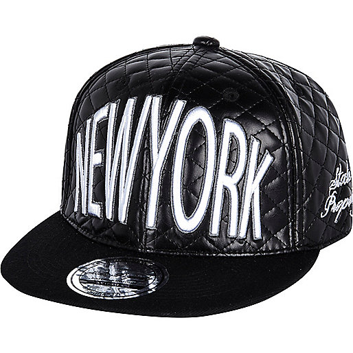 Boys black New York quilted snapback hat