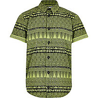 Boys green aztec print shirt