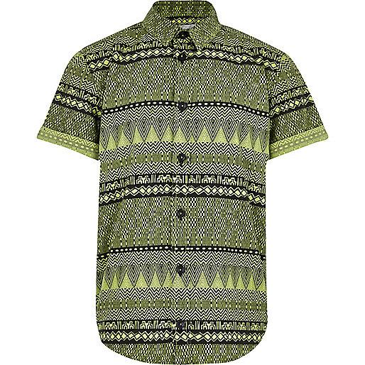 Boys green aztec print shirt