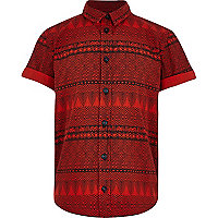 Boys red aztec print shirt