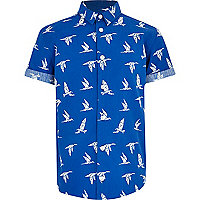 Boys blue bird print shirt