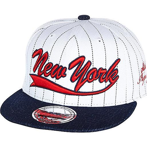 Boys white pin stripe NY snapback hat