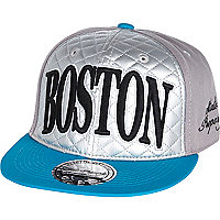 Boys silver quilted Boston snapback hat