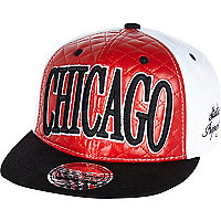 Boys red quilted Chicago snapback hat