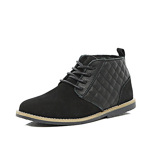 Boys black leather quilted desert boots