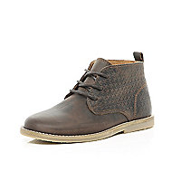 Boys brown textured desert boots