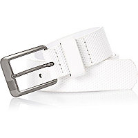 Boys white perforated belt