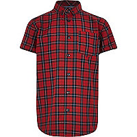 Boys red tartan check shirt