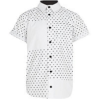 Boys white star print shirt