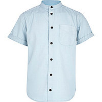 Boys light blue grandad shirt