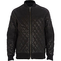 Boys black quilted PU jacket