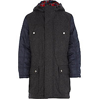 Boys grey and navy woollen parka with hood