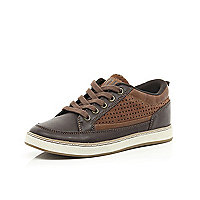 Boys brown smart trainers