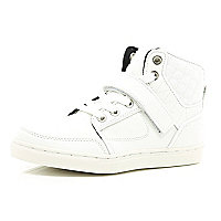Boys white hi-top trainers