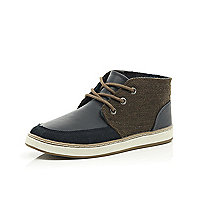 Boys navy material panel boots