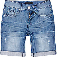 Boys blue medium wash denim shorts