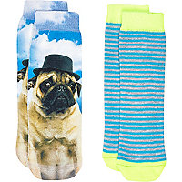 Mini boys pug 2 pack socks