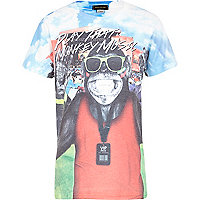 Boys white monkey festival print t-shirt