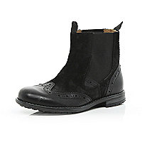 Boys black brogue leather chelsea boots