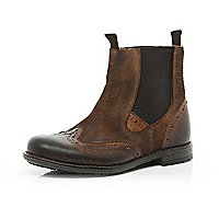 Boys brown brogue leather chelsea boots