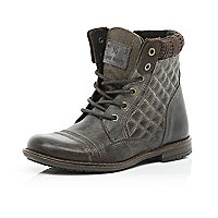 Boys dark brown leather quilted boots
