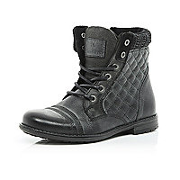 Boys black leather quilted boots