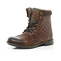 Boys brown leather quilted boots