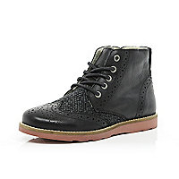 Boys black leather brogue boots