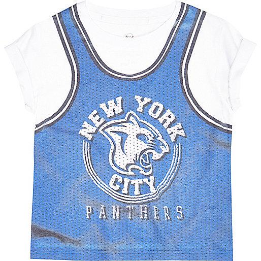 Mini boys blue basketball t-shirt