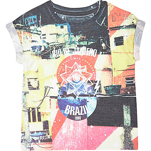 Mini boys Rio print t-shirt