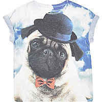 Mini boys blue pug print t-shirt
