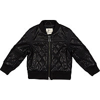 Mini boys black leather look bomber jacket