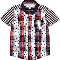 Mini boys check star print shirt