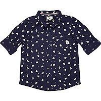 Mini boys navy skull print shirt