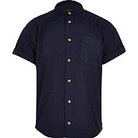 Boys navy grandad shirt