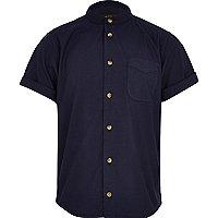 Boys navy grandad shirt