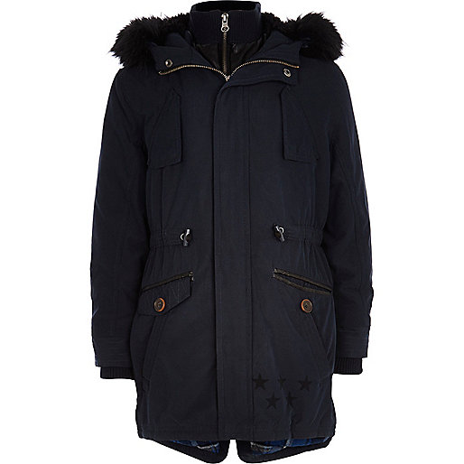 Boys navy blue parka coat