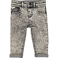 Mini boys grey acid wash skinny denim jeans
