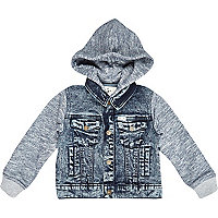Mini boys denim hooded jersey jacket