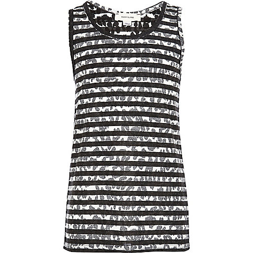Boys grey leopard print stripe vest