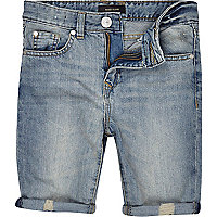 Boys light wash distressed denim shorts