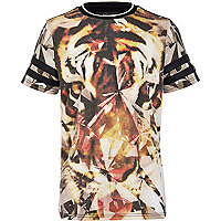 Boys black abstract tiger print t-shirt