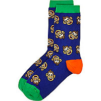 Boys blue and green monkey socks