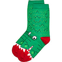 Boys green and red crocodile socks