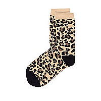 Boys brown leopard print socks