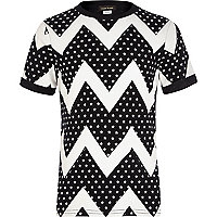 Boys black zig zag star print t-shirt
