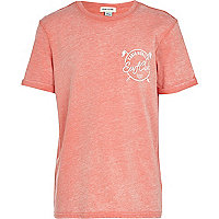 Boys orange Santa Monica print t-shirt